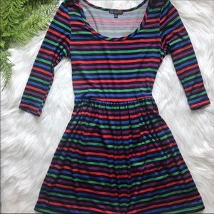 2/$10 [BeBop] Fun Rainbow Striped Fit and Flare